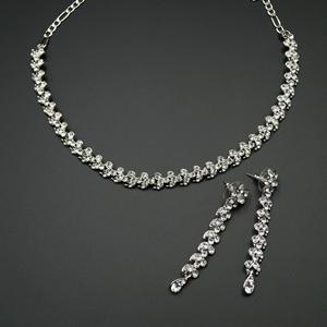 Xoti White Diamante Necklace Set - Silver