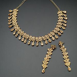Elsi Gold Diamante Necklace Set - Gold