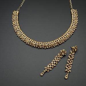 Ujay Gold Diamante Necklace Set - Gold