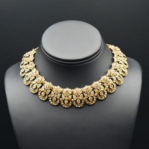 Vari Gold Diamante Necklace Set - Gold