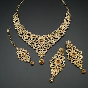 Som Gold Diamante Necklace Set - Gold