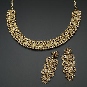 Hai Gold Diamante Necklace Set - Gold