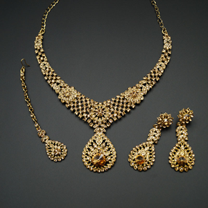 Rea Gold Diamante Necklace Set - Gold