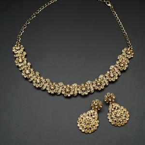 Ina Gold Diamante Necklace Set - Gold