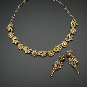 Pana Gold Diamante Necklace Set - Gold