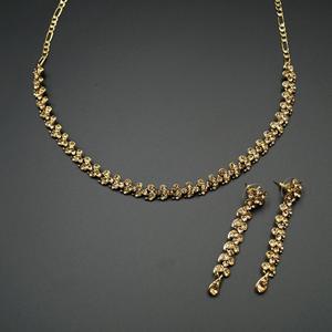 Nata Gold Diamante Necklace Set - Gold