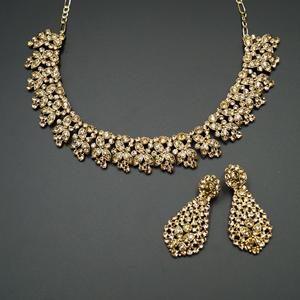 Habi Gold Diamante Necklace Set - Gold