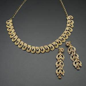 Fatin Gold Diamante Necklace Set - Gold