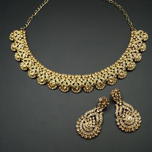 Pavi Gold Diamante Necklace Set - Gold
