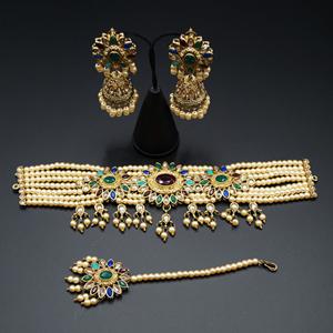 Vija - Multicolour Choker Necklace Set - Antique Gold