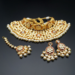 Raen White Kundan Choker Necklace Set - Gold