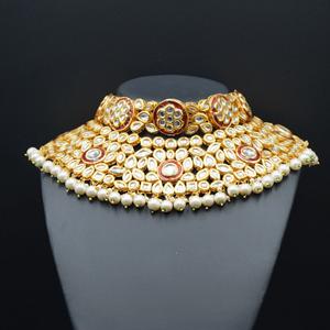 Raen White Kundan Choker Necklace Set - Gold