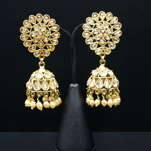 Chia Gold Polki Stone Jhumka- Antique Gold