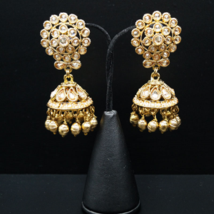 Daki Gold Polki Stone Jhumka- Antique Gold