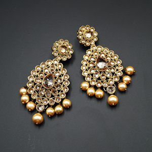 Ira Gold Polki Stone and Pearl Earring - Antique Gold