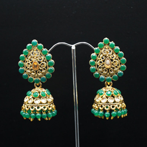Jaki Gold/Green Polki Stone Jhumka - Antique Gold