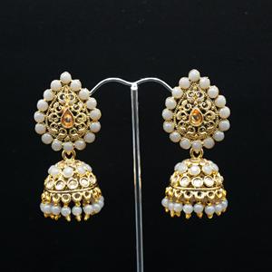 Jaki Gold/Grey Polki Stone Jhumka - Antique Gold
