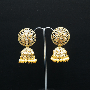 Tai Gold Polki Stone and Pearl Jhumka - Antique Gold