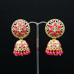 Tai Gold/Cerise Polki Stone Jhumka - Antique Gold