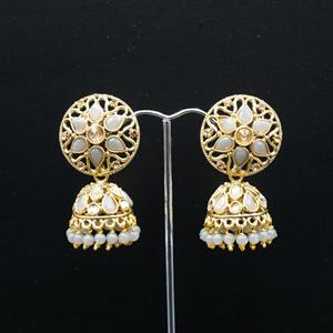 Tai Gold/Grey Polki Stone Jhumka - Antique Gold