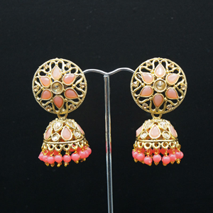 Tai Gold/Coral Polki Stone Jhumka - Antique Gold