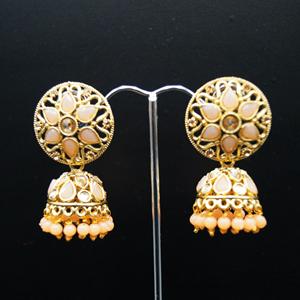 Tai Gold/Peach Polki Stone Jhumka - Antique Gold
