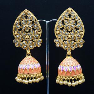 San Peach Painted  Jhumka - Gold