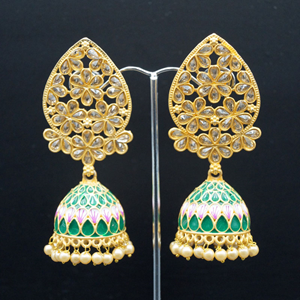 San Green Painted  Jhumka - Gold
