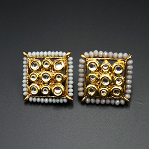 Gaya Grey Bead/Kundan Stone Earrings - Gold