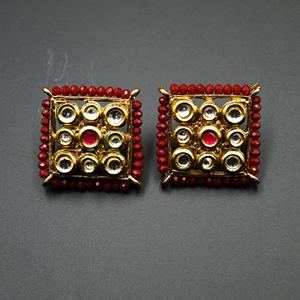 Gaya Maroon Bead/Kundan Stone Earrings - Gold