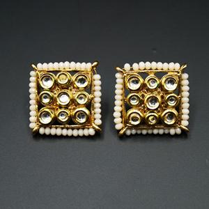 Gaya Nude Bead/Kundan Stone Earrings - Gold