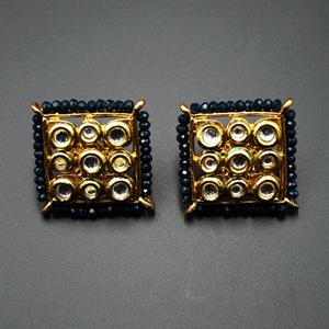 Gaya Dark Blue Bead/Kundan Stone Earrings - Gold