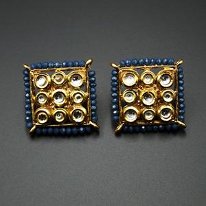 Gaya Navy Blue Bead/Kundan Stone Earrings - Gold