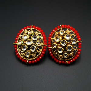 Baka Red Bead/Kundan Stone Earrings - Gold