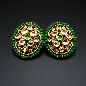Baka Green Bead/Kundan Stone Earrings - Gold
