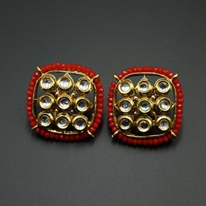 Tri Red Bead/Kundan Stone Earrings - Gold