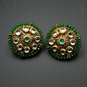 Har Green Bead/Kundan Stone Earrings - Gold