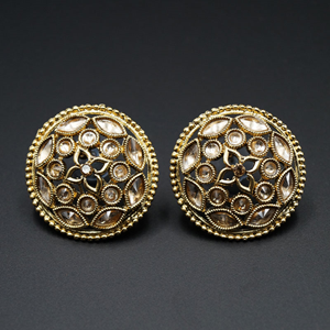 Basu Gold Stone Earrings - Antique Gold
