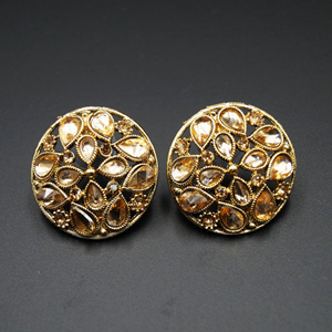 Rin Gold Stone Earrings - Antique Gold