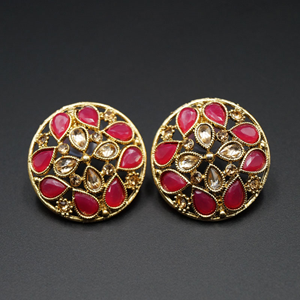 Rin Cerise & Gold Stone Earrings - Antique Gold