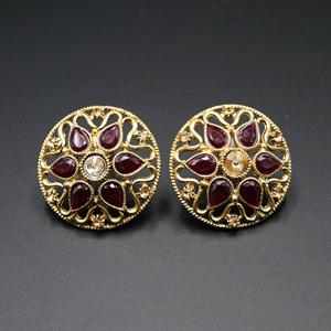 Nadi Maroon & Gold Stone Earrings - Antique Gold
