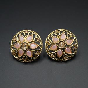Nadi Peach & Gold Stone Earrings - Antique Gold