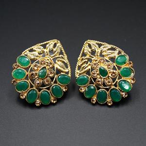 Daki Green & Gold Stone Earrings - Antique Gold
