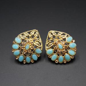 Daki Sky Blue & Gold Stone Earrings - Antique Gold