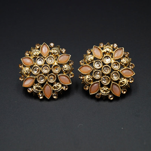 Ail Pink & Gold Stone Earrings - Antique Gold