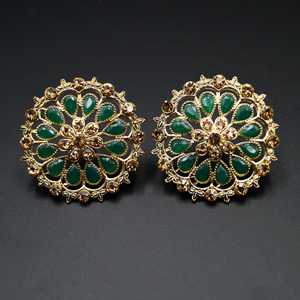 Xaya- Green & Gold Stone Earrings - Antique Gold