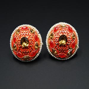 Jano  -Orange/ Gold Polki Stone Earrings - Gold
