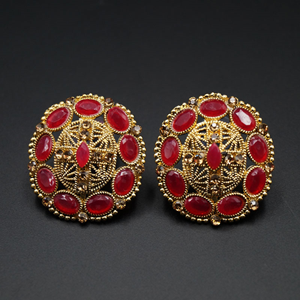 Tala- Pink & Gold Stone Earrings - Antique Gold