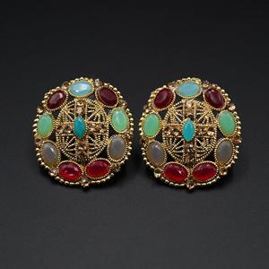 Tala- Mulitcolour & Gold Stone Earrings - Antique Gold