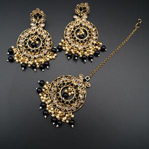 Naiti- Black/Gold Polki Earring Tikka Set - AntiqueGold